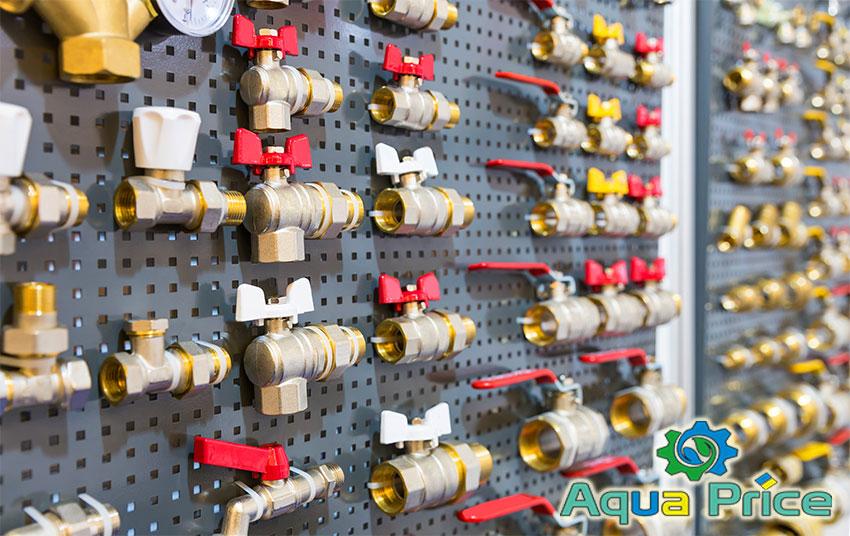 Трубопроводная арматура на витрине в магазине Aqua Price